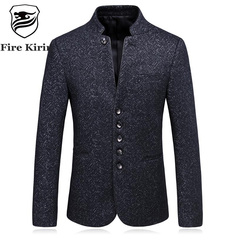 [해외]남자에 대 한 화재 기린  칼라 블레 이저 슬림 피트 망 망 블레 이저 빈티지 단일 브레스트 비즈니스 캐주얼 정장 자 켓 Q187/Fire Kirin Chinese Collar Blazers For Men Slim Fit Mens Wool Blazers Vint
