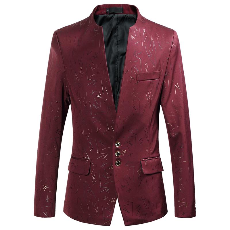 [해외]남자 & 블레 이저 무늬 솔리드 컬러 정장 스탠드 칼라 큰 사이즈 M-6XL 남자 3 버튼 패션 캐주얼 자켓 와인 레드 슬림 피트/Men&s Blazer Pattern Solid Color Suit Stand Collar Big Size M-6XL Mal