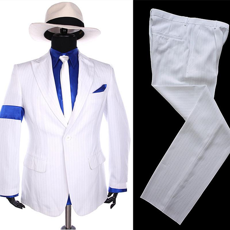 [해외]MJ 마이클 잭슨 스트라이프 클래식 BAD Smooth Criminal 1990S 화이트 블레 이저 정장 셔츠 넥타이 모자 할로윈 의상 Chistmas Gift/MJ Michael Jackson Stripe Classic BAD Smooth Criminal 19