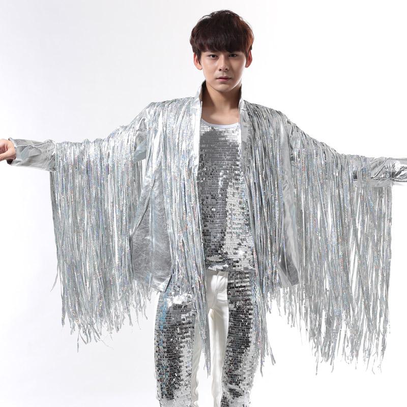 [해외]남성 정장 디자인 가축은 무대 의상 가수 남성 스팽글 재킷 댄스 의류 재킷 스타 참신 드레스 펑크/men suits designs tassel silver stage costumes for singers men sequin blazer dance clothes