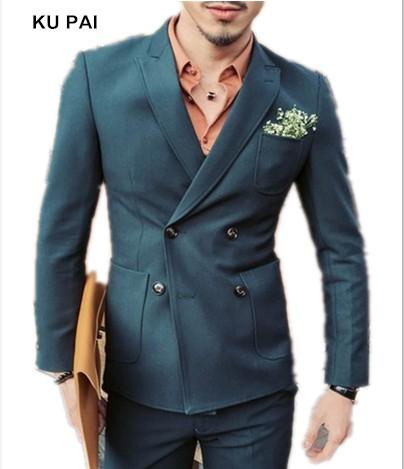 [해외]2017 가을과 겨울 무광택 더블 브레스트 남성 & s 셔츠 정장 한국어 슬림 스트레칭 캐주얼 신랑 웨딩 드레스 셔츠/2017 autumn and winter matte double-breasted men&s shirt suit Korean Slim st