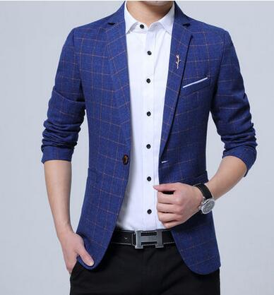 [해외]봄 대형 캐주얼 정장 mens 한국 비즈니스 남성 & s 격자 작은 정장 얇은 슬림 청소년 재킷 남성 코트 블루 블랙 그레이/Spring large size casual suits mens korean business men&s lattice small