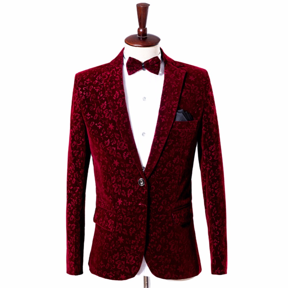 [해외]남성 와인 레드 벨벳 블레이져 재킷 부르고뉴 슈트 재킷 의상 옴므 남성 벨벳 블레이저 옴므 남성 무대 착용 남성 꽃 블레이저/Men Wine Red Velvet Blazer Jacket Burgundy Suit Jacket Costume Homme Men Vel