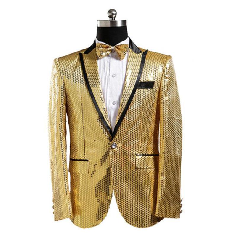 [해외]골드 스팽글 자켓 남성 스팽글 블레어 총 Hombre 남성 Paillette 블레 이저 Masculino Costume Homme Mens 블레 이져 자켓/Gold Sequin Jacket Men Sequin Blazer Hombre Men Paillette B