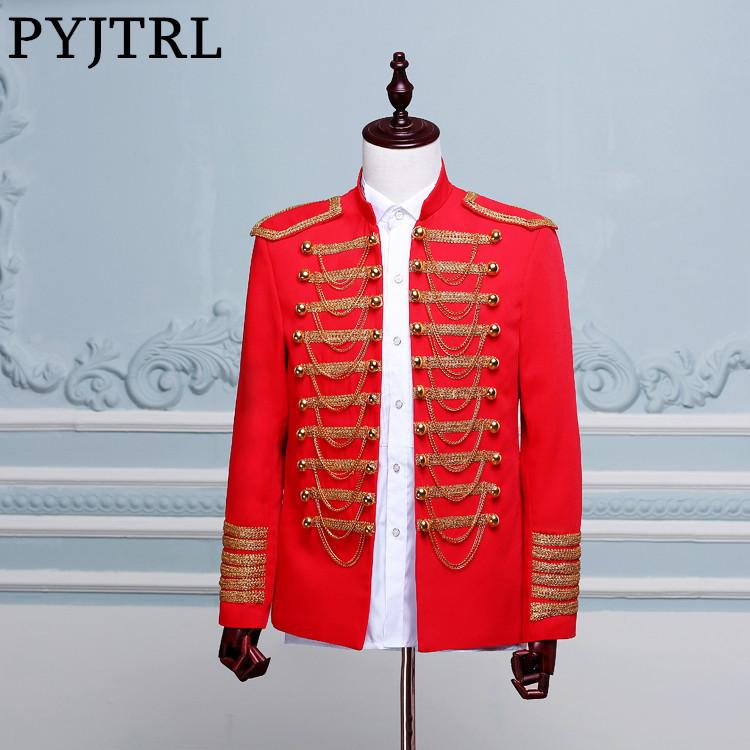 [해외]PYJTRL Mens 클래식 유럽 육군 제복 무대 착용 블랙 레드 골드 더블 브레스트 코트 블레 이저 의상 옴므 자켓 남자/PYJTRL Mens Classic European Army Uniform Stage Wear Black Red Gold Double-br