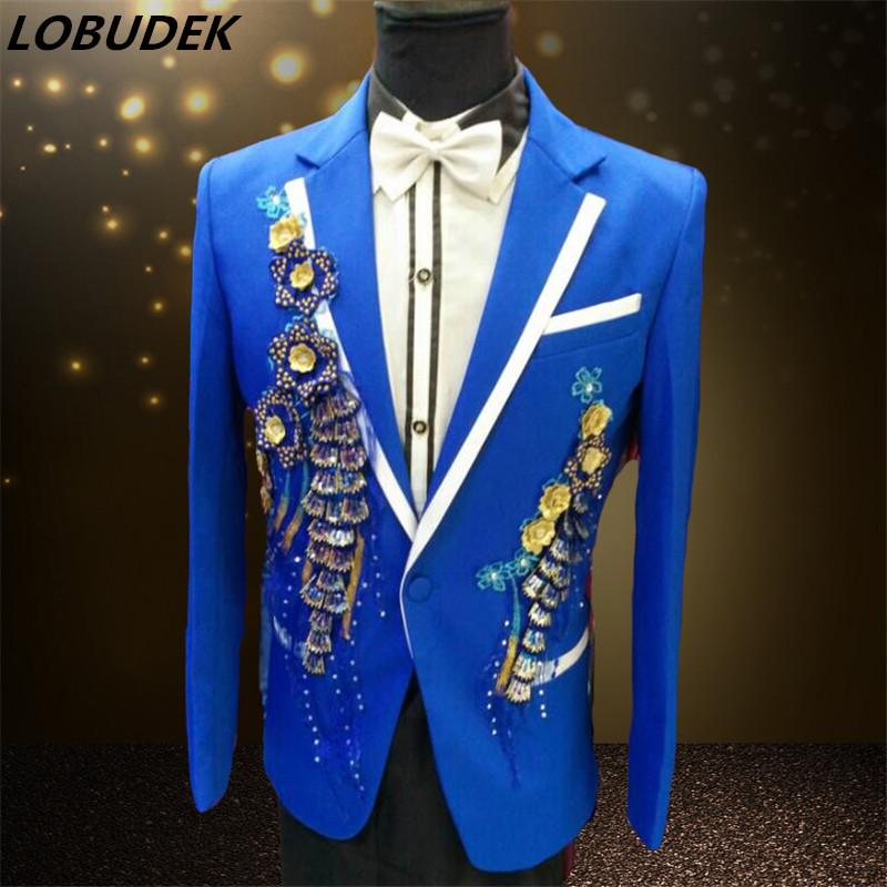 [해외]2017 남성 블레이 저 슬림 정장 재킷 남성 의류 파란색 빨간색 가수 성능 신랑 드레스 쇼 파티 크리스마스 바/2017 men blazer slim suit jacket outwear male clothes white blue red for singer per