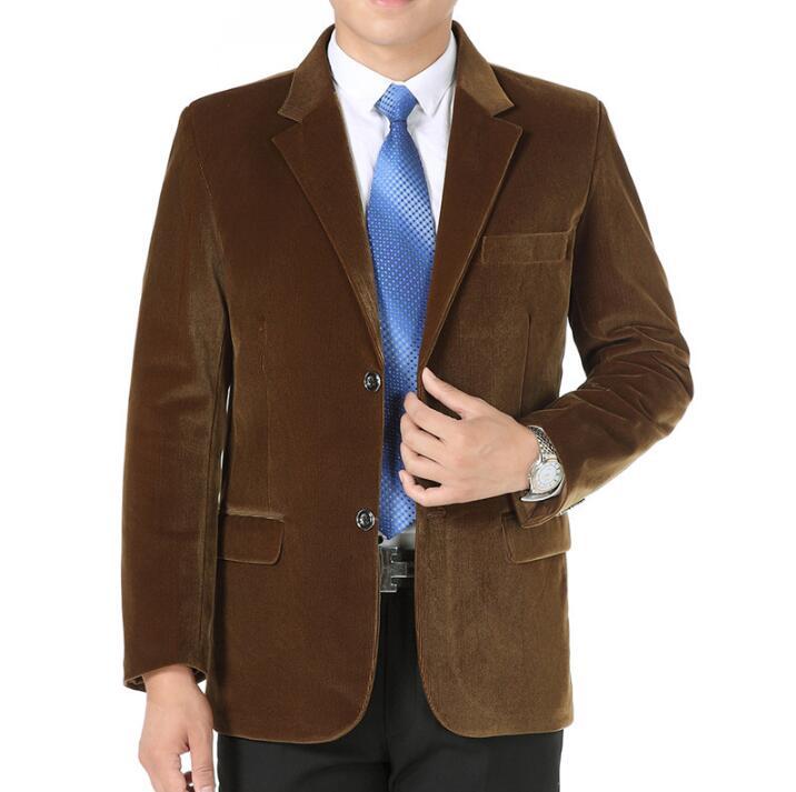 [해외]남성 코듀로이 어울리는 겉옷 봄 가을 캐주얼 양복 남자 싱글벙글 남성 싱글 블레이저 슬림 피트 masculino 카키 블랙/male corduroy suits outerwear spring autumn casual suit mens quinquagenarian