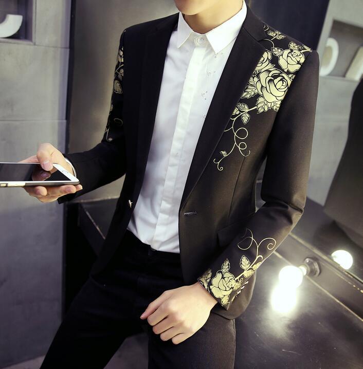 [해외]꽃 무늬 망 프린트 양복 색 한국 청소년 헤어 스타일리스트 남성 작은 정장 재킷 영국 jaqueta masculina 검정색 M - 2XL/Floral pattern mens printing suits color youth korean hair stylist m