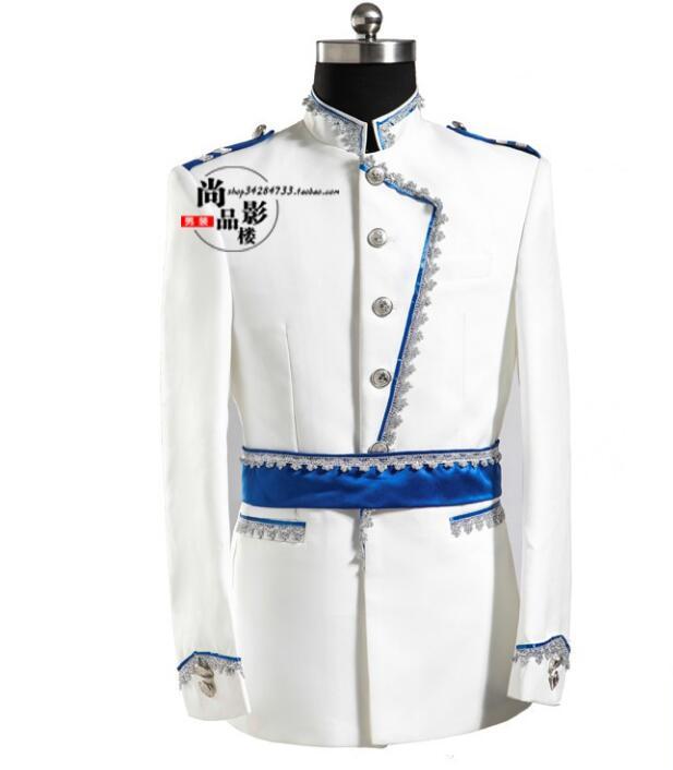 [해외]유럽의 법원 남자 재킷 디자인 masculino homme terno 무대 의상 가수 남자 재킷 댄스 의류 재킷 드레스 화이트/European court men blazer designs masculino homme terno stage costumes for