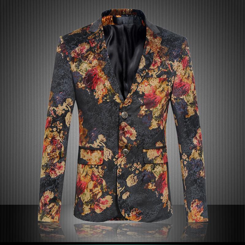 [해외]2017 새로운 인쇄 망 블레 이저 재킷 패션 두 단추 클로저 망 벨벳 블레 이저 플러스 크기 M-5XL 남성 슬림 맞는 블레이저/2017 New Print Mens Blazer Jacket Fashion Two Button Closure Mens Velvet