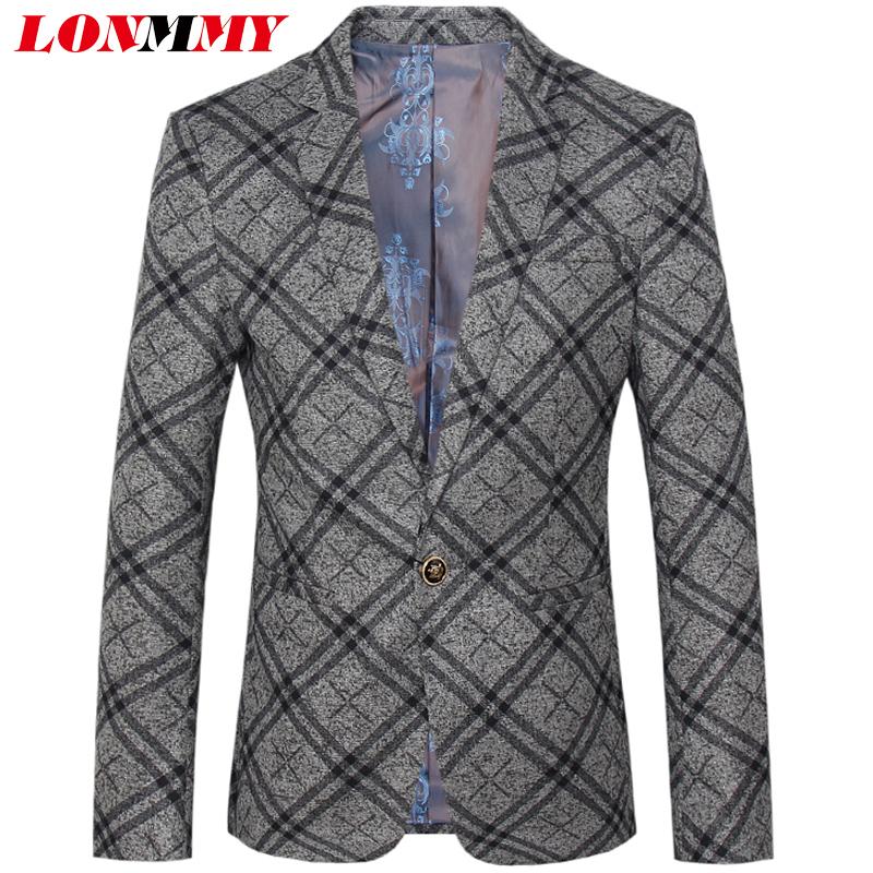 [해외]LONMMY 3XL 4XL 웨딩 드레스 재킷 남성 패션 격자 무늬 재킷 남성 정장 슬림 피트 캐주얼 아우터 2018 봄 가을/LONMMY 3XL 4XL Wedding dress blazer men Fashion Plaid mens blazer jacket men