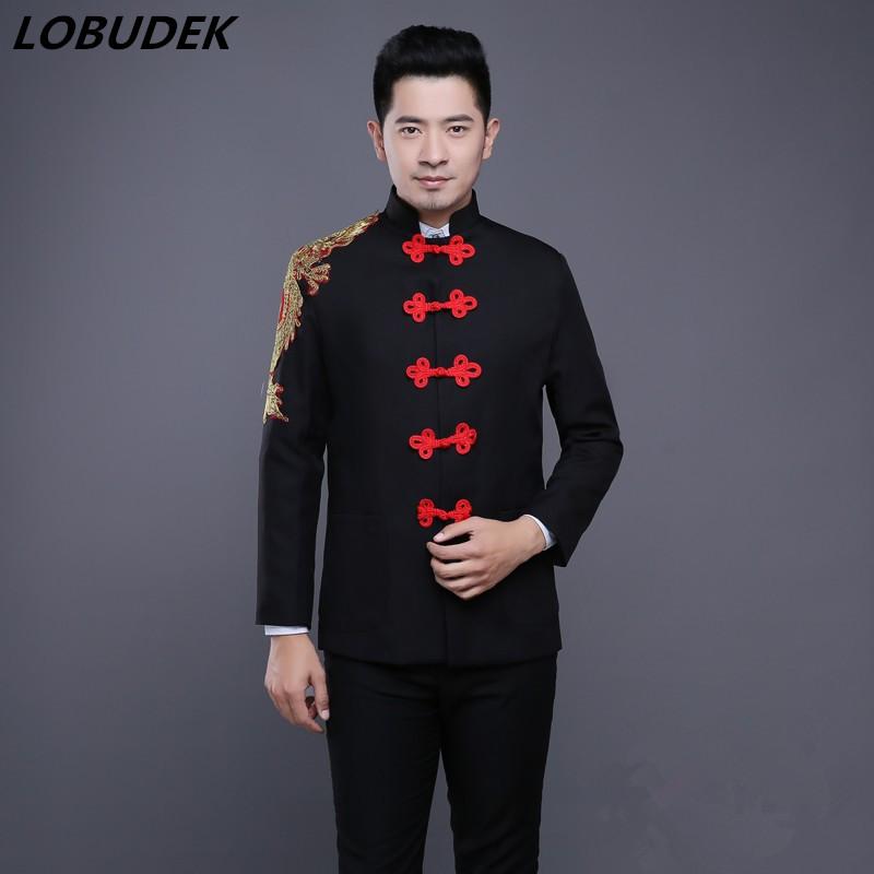 [해외](재킷 + 바지)  스타일 남성 정장 블랙 레드 자수 블레이저 가수 무대 의상 코러스 팀 파티 무대 의상/(jacket+pants) Chinese style Male Suits Black Red Embroidery Blazers singer stage Costu