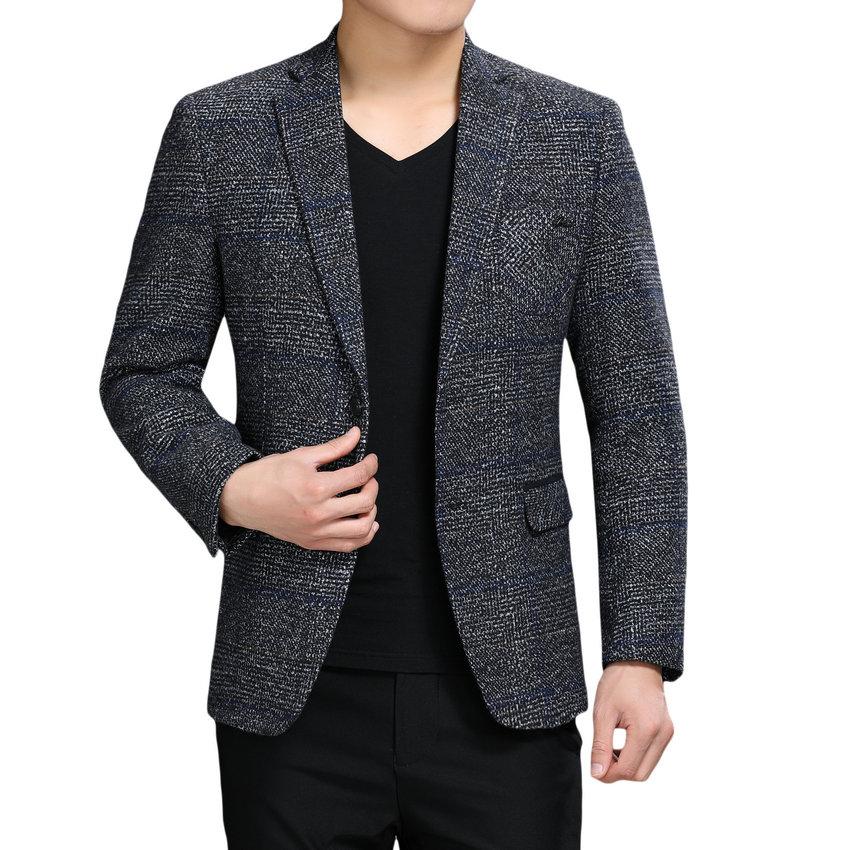 [해외]영국 스타일 남자 우아한 블레이 저 커피 그레이 트위드 정장 자켓 슬림 피트 블레이저 비즈니스 캐주얼 의상 남성용 스마트 겉옷/British Style Man Elegant Blazers Coffee Gray Tweed Suit Jacket For Men Sli
