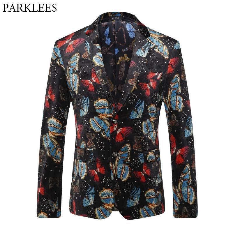 [해외]남성 Hipster 꽃 재킷 자 켓 2018 럭셔리 브랜드의 새로운 싱글 브레스트 두 단추 양복 블라우스 남자 캐주얼 파티 웨딩 정장/Mens Hipster Floral Blazer Jacket 2018 Luxury Brand New Single Breasted