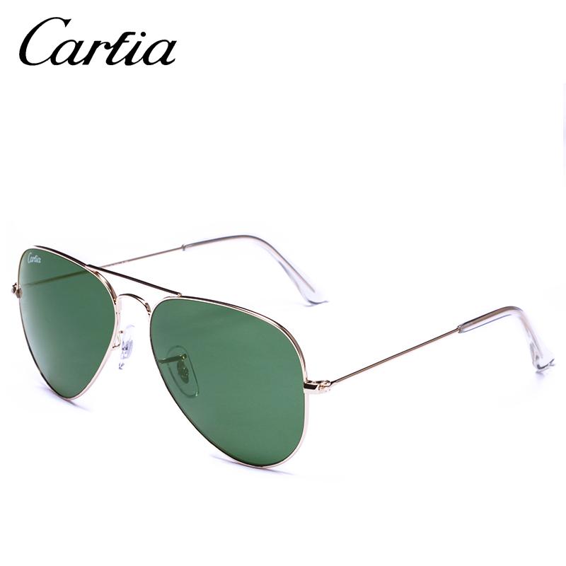 [해외]레트로 클래식 선글라스 CA 3025 파일럿 스타일 골드 프레임 녹색 유리 렌즈 58mm 패션 carfia 선글라스 여성 58mm 안경/Retro classical  sunglasses CA 3025 pilot style gold frame green glass