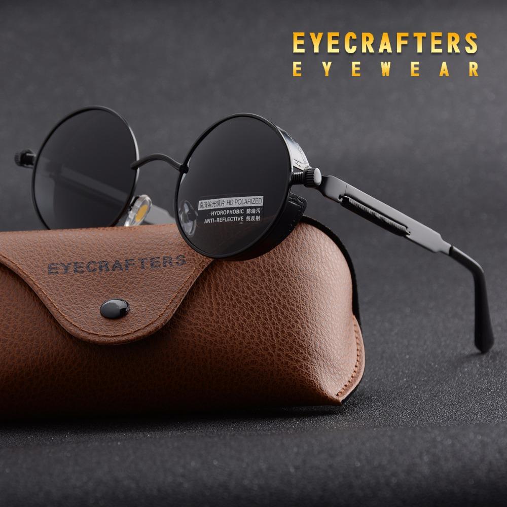 [해외]Eyecrafters 라운드 금속 편광 선글라스 고딕 Steampunk 선글라스 망 여성 패션 레트로 빈티지 쉴드 아이드 썬글라스/Eyecrafters Round Metal Polarized Sunglasses Gothic Steampunk Sunglasses