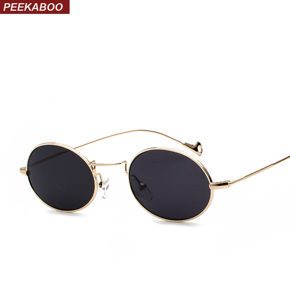 [해외]Peekaboo 작은 타원형 선글라스 남자 복고풍 금속 프레임 블랙 핑크 옐로우 블루 레드 태양 안경 2018 uv400/Peekaboo small oval sunglasses men retro metal frame black pink yellow blue re