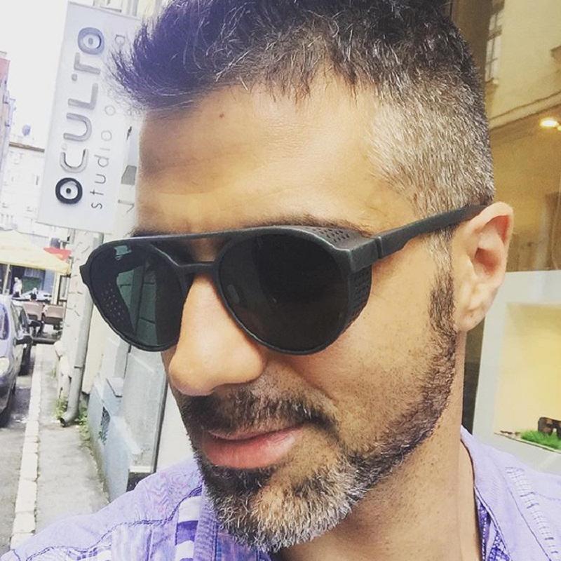 [해외]HOKU 2018 새로운 패션 라운드 프레임 SteamPunk 스타일 사이드 메쉬 선글라스 남자 브랜드 디자이너 빈티지 Sun Glasses Punk W268/HOKU 2018 New Fashion Round Frame SteamPunk Style Side Me