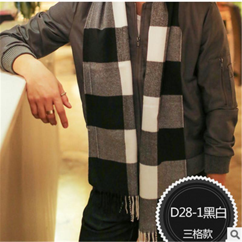 [해외]가을과 겨울 고품질 남성 & 패션 격자 스카프 고전적인 스카프 영국 바람이 두꺼운 190 * 30cm/Autumn and winter high-quality men&s fashion grid scarf classic scarf England wind th