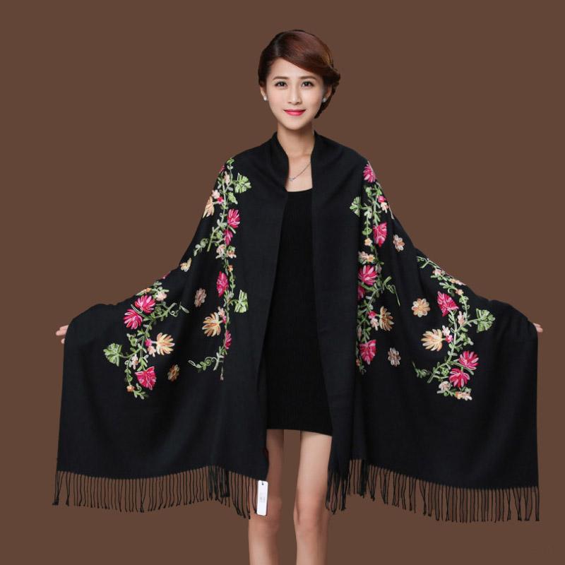 [해외]새로운 블랙 자수 꽃 Pashmina 캐시미어 스카프 겨울 따뜻한 고급 Tassels 스카프 목도리 패션 목도리 스카프/New Black Embroider Flower Pashmina Cashmere Scarf For Women Winter Warm Fine T