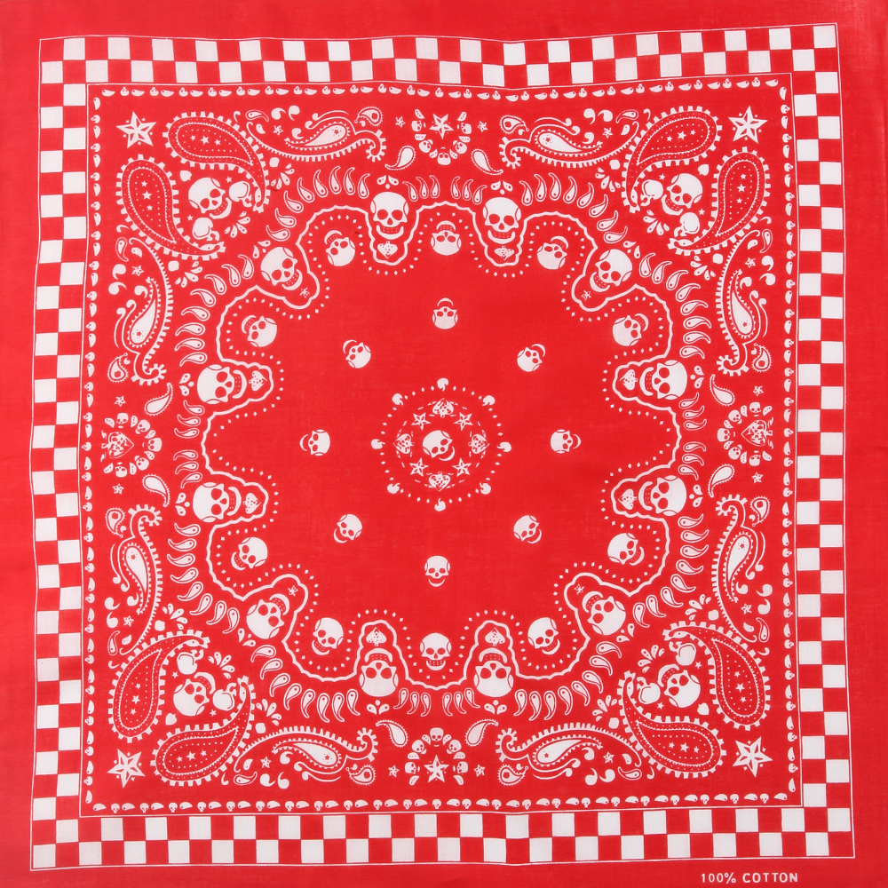 [해외]WINFOX 뉴 힙합 펑크 붉은 격자 무늬 페이즐리 해골 두건의 모자를 쓰고 있죠/WINFOX New Hip Hop Punk Red Plaid Paisley Skull Bandana Headwear For Women Mens