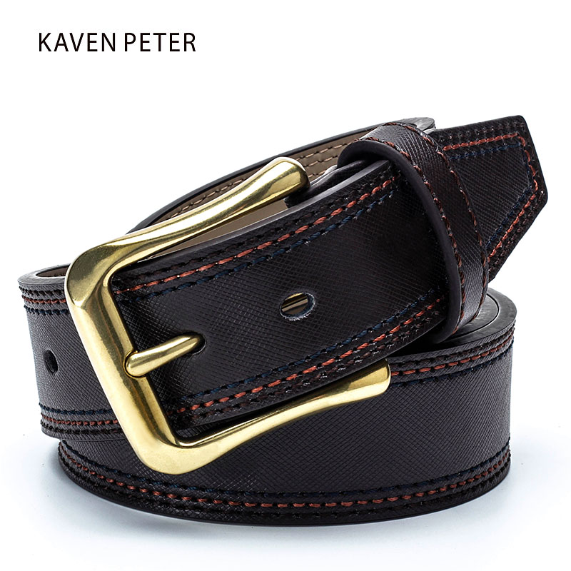 [해외]남성을패션 격자 무늬 Cowskin 벨트 골동품 금관 악기 버클 청바지에 대한 클래식  가죽 벨트 남성 StrapThree 바느질/Fashion Plaid Cowskin Belt For Men Antique Brass Buckle Classic Genuine L