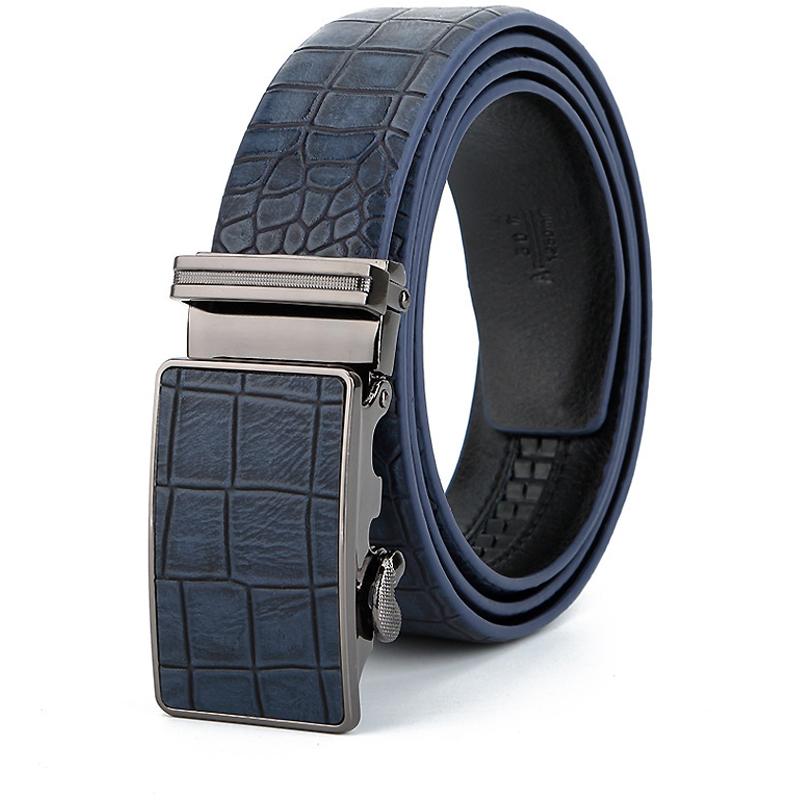 [해외]남자 & 캐주얼 가죽 벨트, 간단한 가죽 벨트 남자 결혼식에 참여, 고품질 자동 버클 벨트 블루/Men&s casual leather belt ,  participate in wedding simple leather belt men , High quali