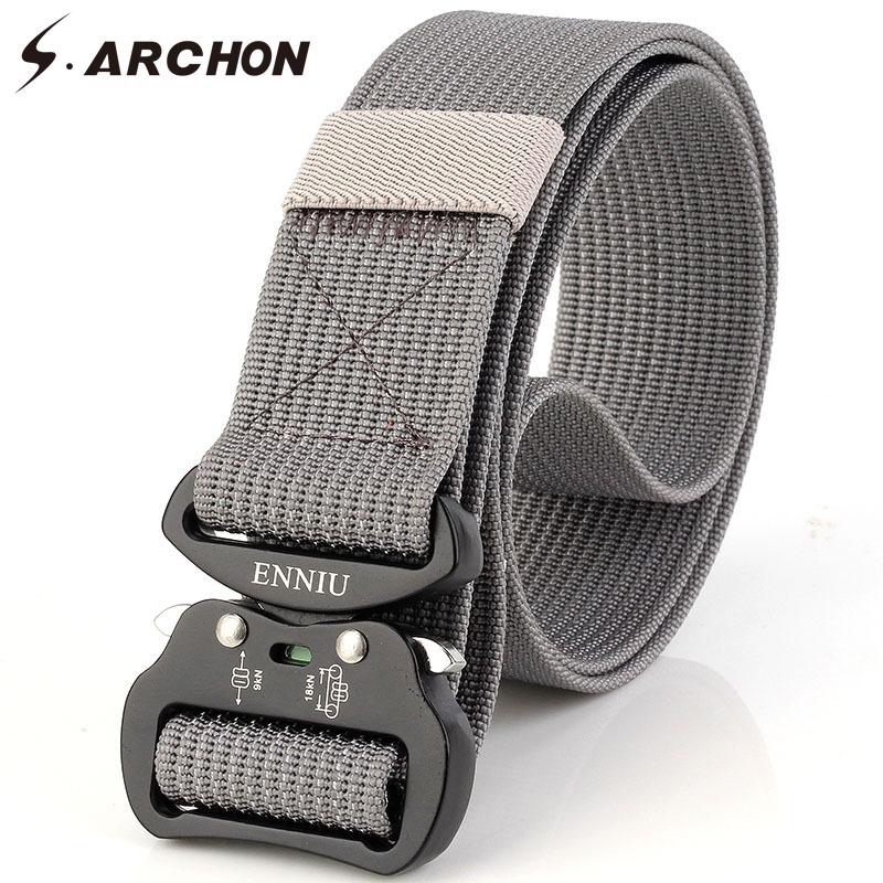 [해외]S.ARCHAIN ??미국 군인 밀리터리 장비 캔버스 벨트 남자 금속 버클 전술 허리 벨트 남자 스트랩 조정 가능한 생존 벨트/S.ARCHON US Soldiers Military Equipment Canvas Belts Men Metal Buckle Tacti