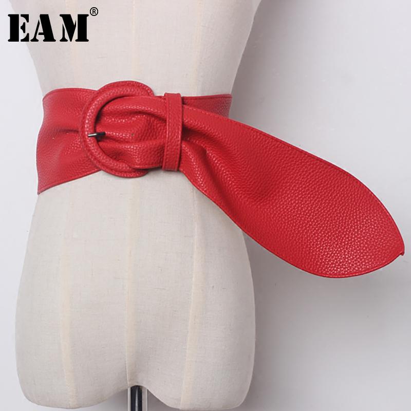 [해외][EAM] 2018 뉴 가을 솔리드 컬러 블랙 레드 PU 가죽 브리프 긴 와이드 벨트 여성 패션 조수 모든 일치 JE13601/[EAM] 2018 New Autumn Solid Color Black Red PU Leather Brief Long Wide Belt