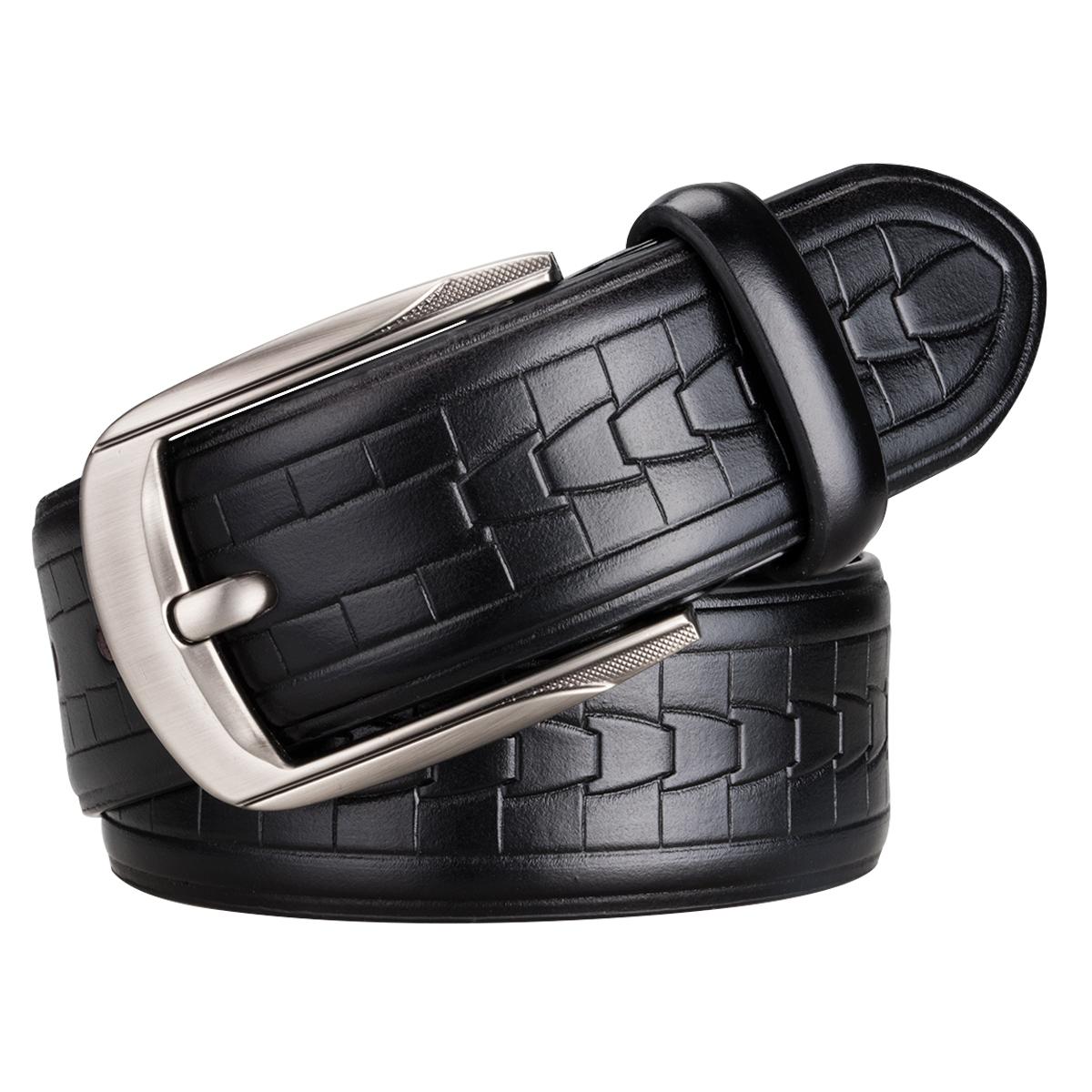 [해외]DiBanGu 핫 세일 남자 & 카우 스킨  가죽 벨트 핀 버클 버클 허리 벨트 블랙 허리띠 110cm - 130cm ZA - 0007/DiBanGu Hot Selling Men&s Cowskin Genuine Leather BeltsPin Buckle