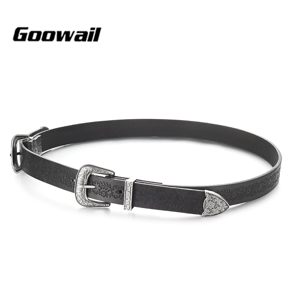 [해외]Goowail 2018 새로운 패션 벨트 여성을실버 더블 버클 가짜 pu 가죽 벨트 디자이너 빈티지 웨스턴 벨트 청바지/Goowail 2018 new fashion  Belts For Women Silver Double Buckle Faux pu Leather