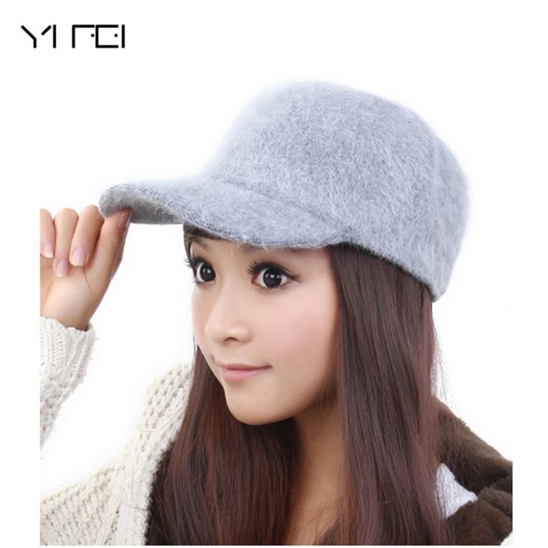 [해외]YIFEI 11 색 브랜드 겨울 따뜻한 모자 2017 새로운 여성 토끼 머리 모자 야구 모자 패션 봉우리 모자 단색 모자/YIFEI 11 colors brands winter warm hat 2017 new women Rabbit hair caps basebal