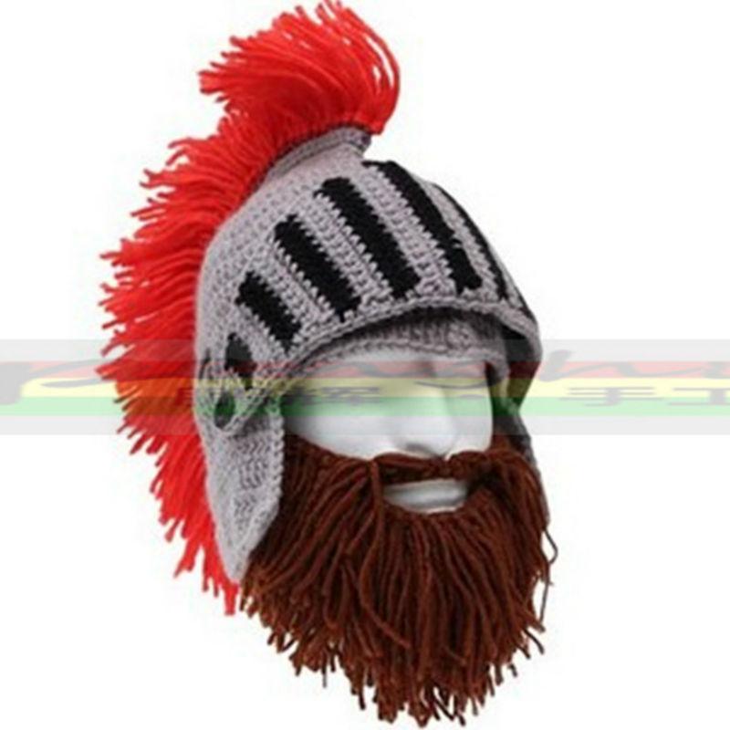 [해외]레드 술 코스프레 로마 나이트 니트 헬멧 남성 & S는 원래 바바리안 수제 겨울 따뜻한 수염 모자 스키 재미 비니 모자/Red Tassel Cosplay Roman Knight Knit Helmet Men&s Caps The Original Barbari