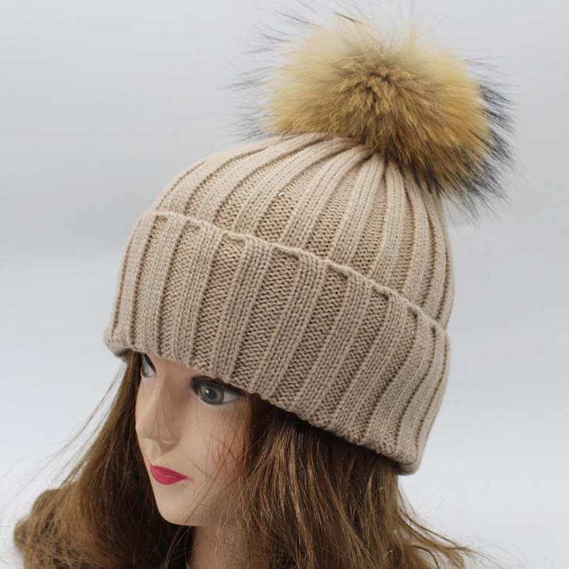 [해외]여자 여자 겨울 모피 모자 2016 패션 니트 모자 모자 남자 진짜 너구리 15cm 모피 Pompom 모자/Women Girls Winter Fur Hat 2016 Fashion Knitted Beanies Cap Real Raccoon 15cm Fur Pomp