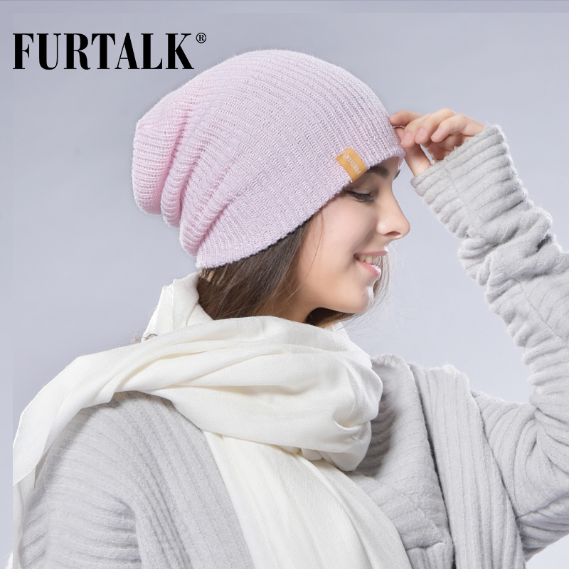 [해외]FURTALK 여성용 봄 여성용 니트 모자 Slouchy Beanie 모자 여성용 모자 Knit Wool Women 여성용 모자 여성용 모자 여성/FURTALK Women Spring Knitted Hat for Women Slouchy Beanie Hat Ca