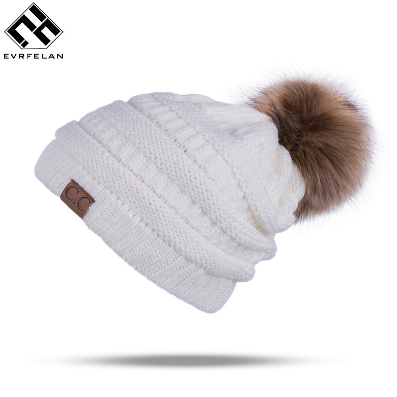 [해외]겨울 브랜드 여성 볼 모자 Pom Poms 겨울 모자 여자 & S 모자 니트 모자 모자 모자 두꺼운 여자 & S Skullies Beanies/Winter Brand Female Ball Cap Pom Poms Winter Hat For Women