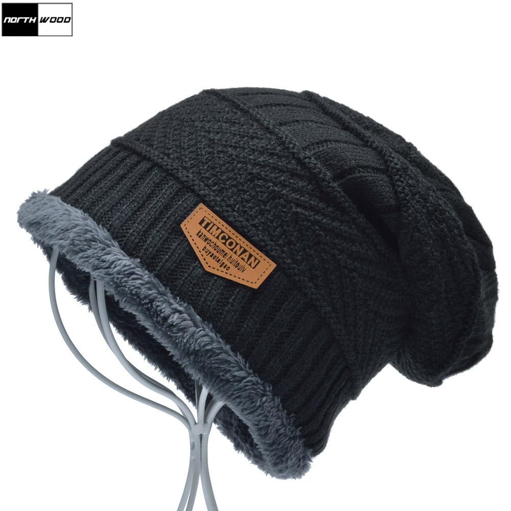 [해외][NORTHWOOD] 남성을새로운 패션 플러스 벨벳 비니즈 모자 솔리드 비니 모자 뼈 Feminino 니트 남성 비니 모자 고로/[NORTHWOOD] New Fashion Plus Velvet Beanies Winter Hats For Men Solid Bean