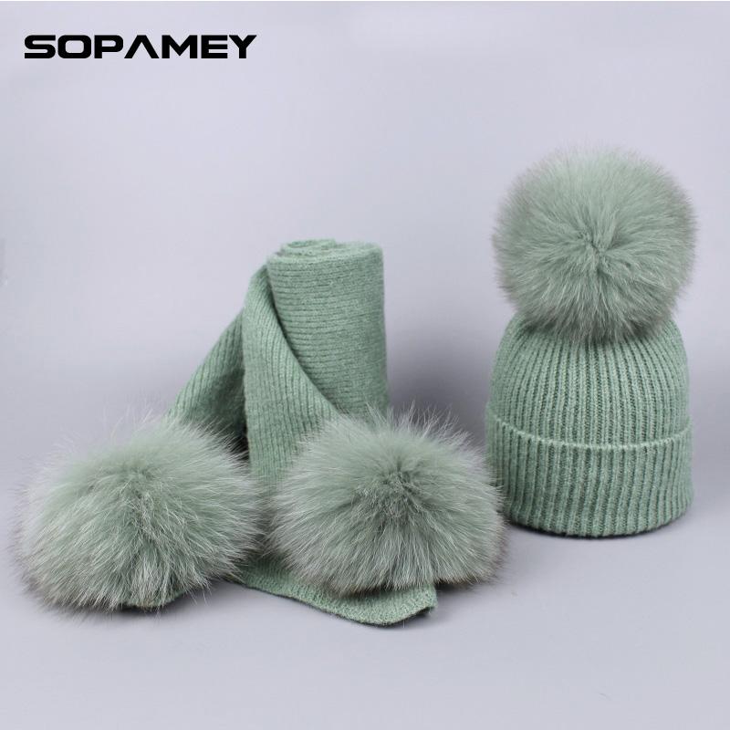 [해외]겨울 여성 & 여우 모피 Pompom 모자 모자와 스카프 세트 양모 웃긴 Skullies 뜨개질 Beanies 따뜻한 스키 마스크 새해 모자 모자/Winter Women&s Fox Fur Pompom Hat Cap and Scarf Set Wool Kni
