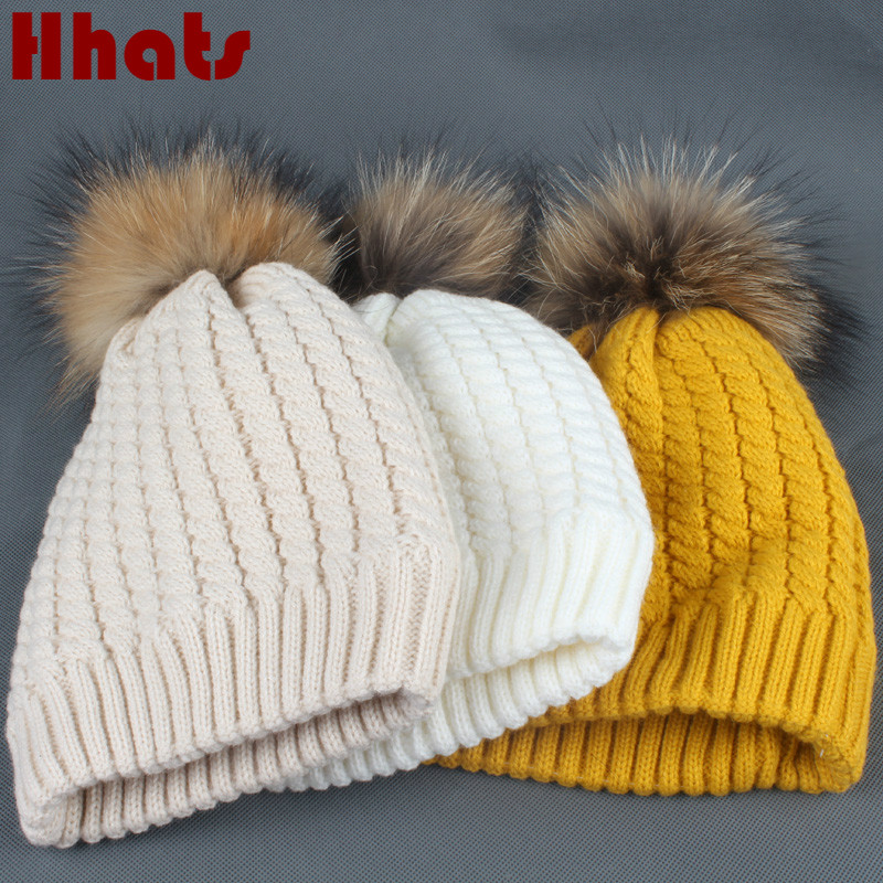 [해외]어느 샤워 더블 레이어 양털 석판 니트 여성 beanies 두꺼운 따뜻한 여자 여자 겨울 hatreal 너구리 모피 pompom/Which in shower double layer fleece linner knit female beanies thick warm