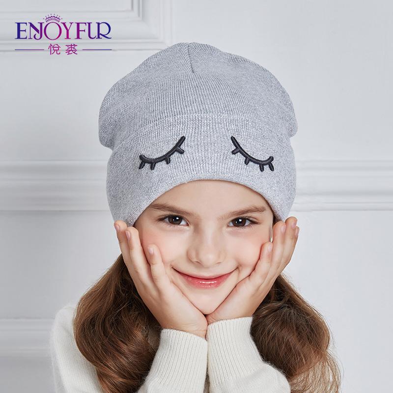 [해외]ENJOYFUR 2017 어린이 겨울 모자 귀여운 눈 니트 소년 모자 소녀 면화 귀 모자 아이들 두꺼운 따뜻한 Skullies Beanies Boy Cap/ENJOYFUR 2017 Children Winter Hats Cute Eye Knitted Boys Ha