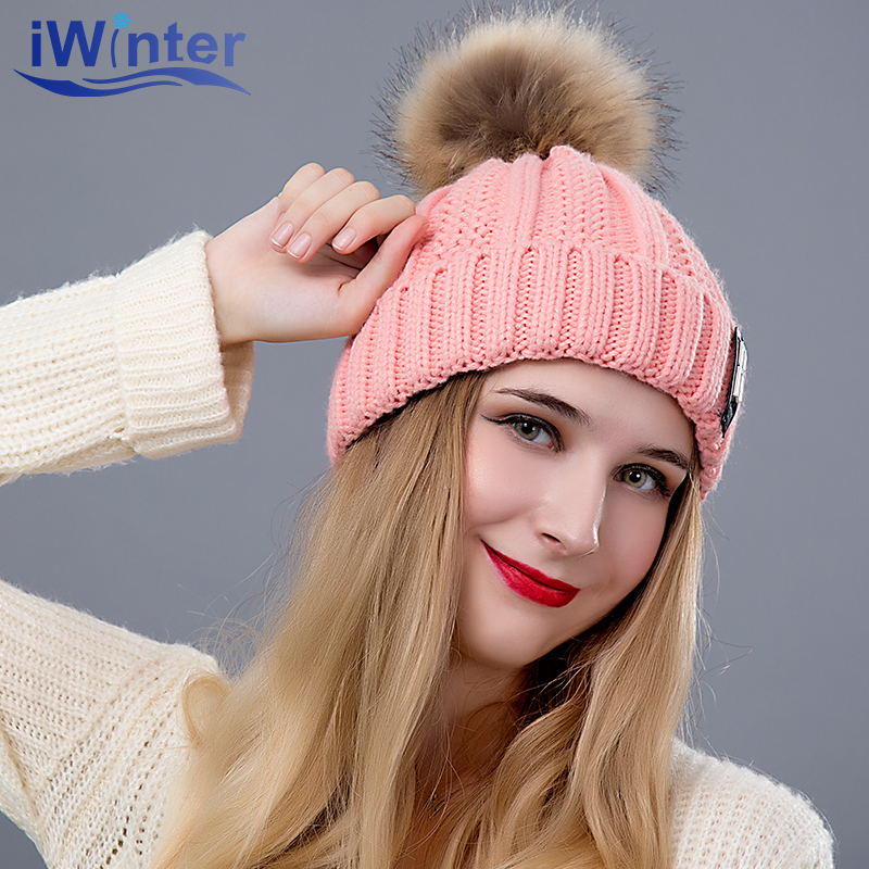 [해외]IWINTER 2018 패션 소녀 & S Skullies Beanies 겨울 모자 모자 뜨개질 모자 Pompoms 볼 따뜻한 굵은 여성 모자/IWINTER 2018 Fashion Girl &S Skullies Beanies Winter Caps For W