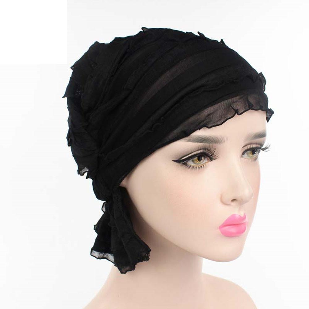 [해외]봄 여름 여성 이슬람교 시폰 Ruffle 암 Chemo 모자 Beanie 스카프 Turban HeadWrap 모자 Gorras mujer solid Touca Bonnet/Spring Summer Women Muslims Chiffon Ruffle Cancer