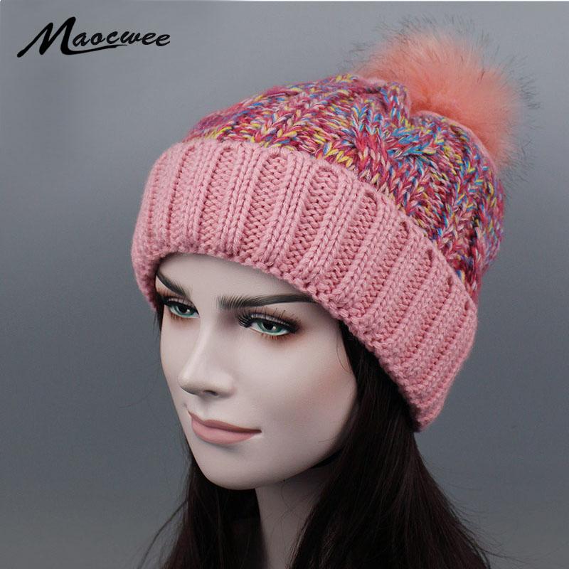 [해외]겨울 패션 소녀 & S Skullies 여성용 Beanies 모자 뜨개질 모자 HatPompoms 따뜻한 여성 스키 마스크 Gorros 두꺼운 여성 모자/Winter Fashion Girl &S Skullies Beanies Hats for Women K