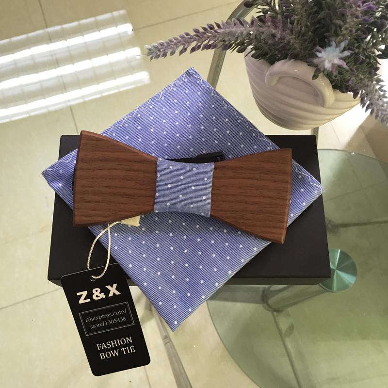 [해외]호두 나무 보우 타이 남성용 Bowtiesblue 및 dot pocket wquare Neckwear 큰 파티 용 수제 나비 넥타이/Walnut Wood Bow Tie For Men Wood Bowtiesblue and dot pocket wquare Neckw