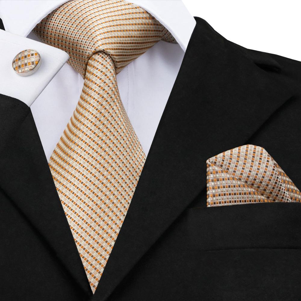 [해외]클래식 망 넥타이 2017 오렌지 카키 줄무늬 넥타이 Hanky ??커프스 단추는 잘 생긴 사업 Mens & 선물 C-688를핫 세일 동점을 놓았다/Classic Mens Ties 2017 orange khaki Stripes Tie Hanky Cuffl