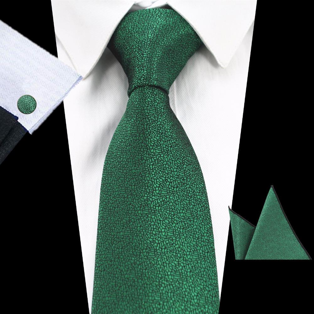 [해외]GUSLESON 브랜드 뉴 솔리드 컬러 타이 세트 8cm 블랙 그린 넥타이 Gravata 포켓 스퀘어 페이즐리 무늬 실크 타이 손수건 커프스 단추/GUSLESON Brand New Solid Color Tie Set 8cm Black Green Necktie G