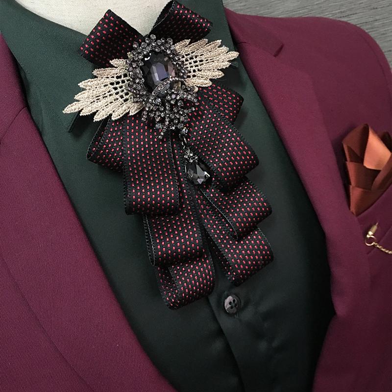 [해외]24 색 남자 럭셔리 웨딩 연회 파티 정장 셔츠 보우 타이 영국 도트 리본 나비 신랑 블랙 라인 석 크리스탈 보우 타이/24 Color Men Luxury Wedding Banquet Party Suit Shirt Bow Ties British Dot Ribbo