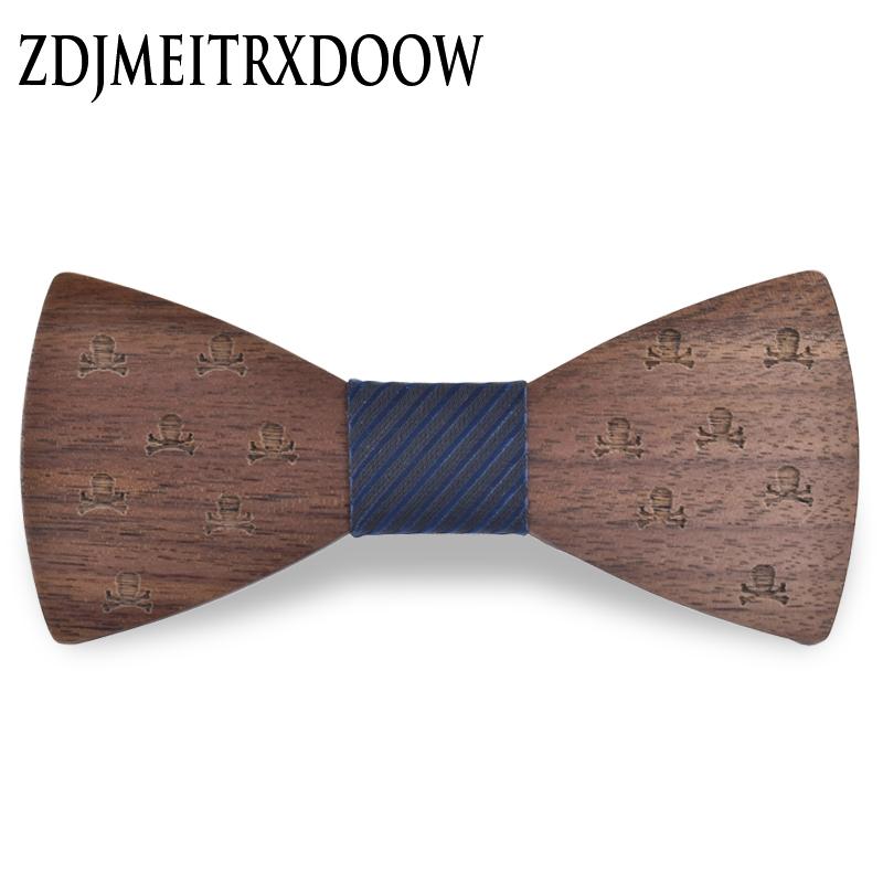 [해외]2018New 디자인 우드 보우 타이 넥타이 넥타이 세트 넥타이 코바타 스 비즈니스 버터 플라이 스컬 커프스 링크 세트/2018New design Wood Bow Tie Mens set Cravat Party Ties Corbatas Business Butter