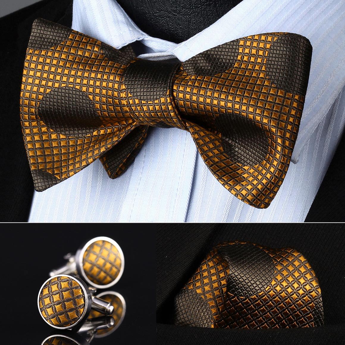 [해외]BZD01Z 오렌지 브라운 도트 남성 실크 셀프 보우 넥타이 손수건 커프스 단추 세트 정사각형 클래식 파티 파티 결혼식/BZD01Z Orange Brown Dot Men Silk Self Bow Tie handkerchief Cufflinks set Pocket