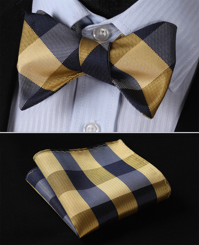 [해외]BC4007YS 옐로우 네이비 블루 체크 Bowtie 남자 실크 셀프 보우 타이 손수건 세트/BC4007YS Yellow Navy Blue Check Bowtie Men Silk Self Bow Tie handkerchief set